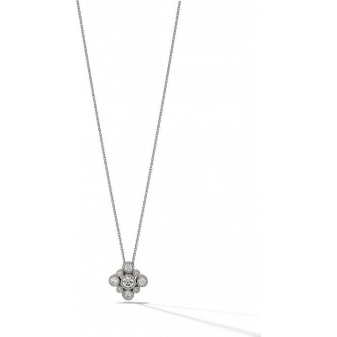 18 carat white gold set diamond cluster pendant with chain. 0.70