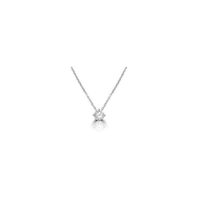 18 carat white gold single stone diamond pendant and chain, 0.30