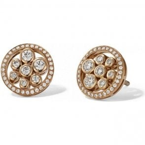18 carat yellow gold circular diamond studs.