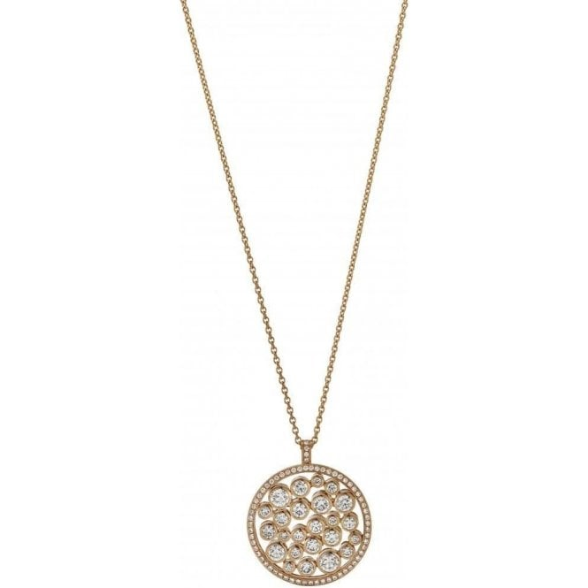 18 carat yellow gold open circle diamond pendant