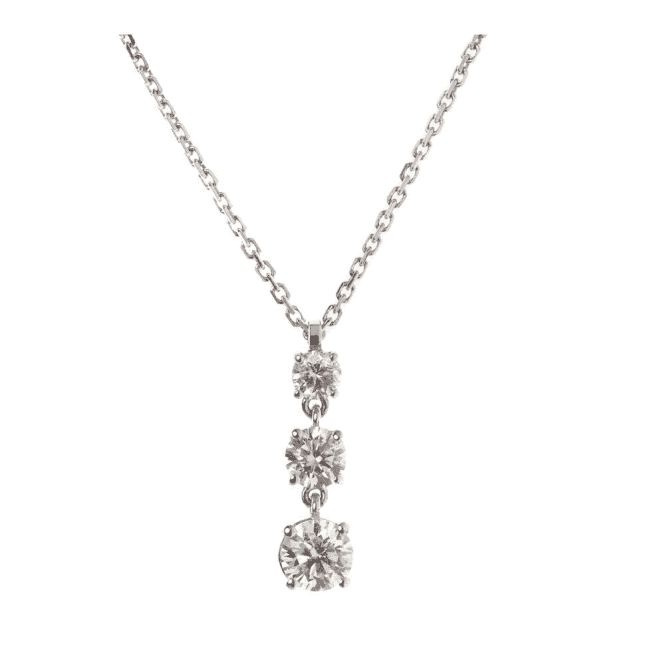 18ct 3 stone graduated diamond necklace on a chain