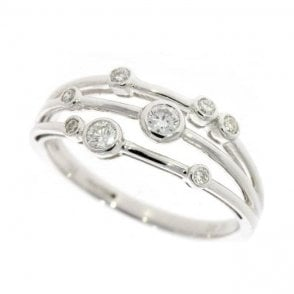 18ct 8 stone run over diamond bubble ring