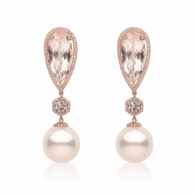 18ct Rose gold, diamond, pink sapphire & morganite earrings with south sea pearls