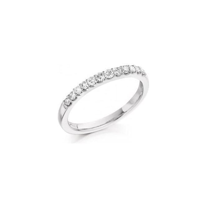 18ct White Gold 12 Stone Diamond 1/2 Eternity Set Ring