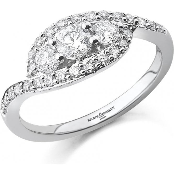 18CT White Gold 3 Stone Diamond ring with Crossover Setting