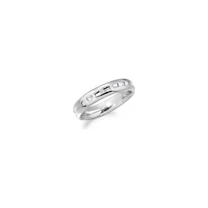 18ct White Gold 7 Stone Diamond Set Wedding Ring 4mm