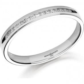 18ct White Gold and Diamond 1/2 Eternity Ring 2mm