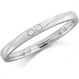 18ct White Gold and Diamond Wedding Ring 2mm