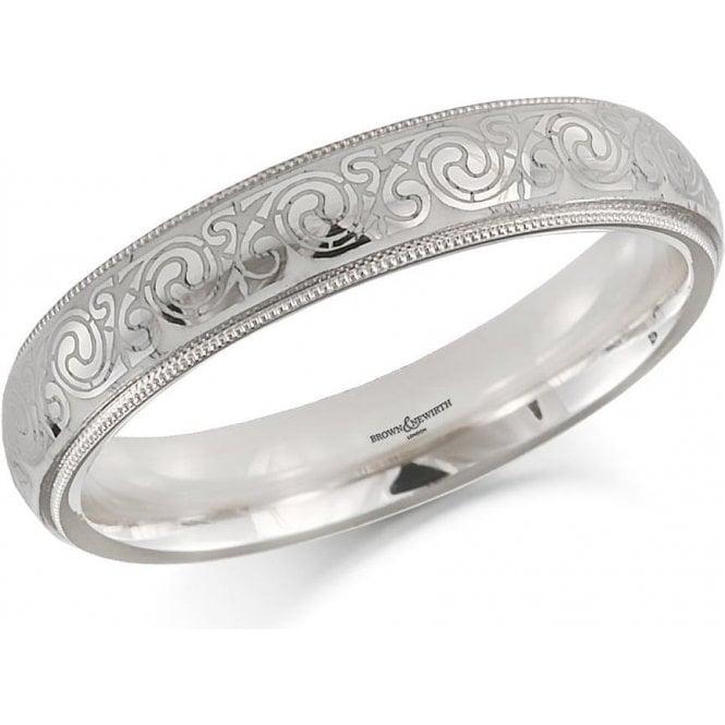 18ct White Gold Celtic Design Wedding Ring 4mm