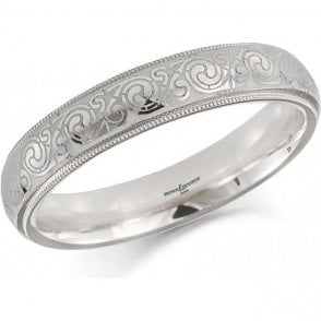 18ct White Gold Celtic Design Wedding Ring 4mm