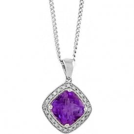 18ct White Gold Cushion shaped Amethyst and Diamonds Pendant