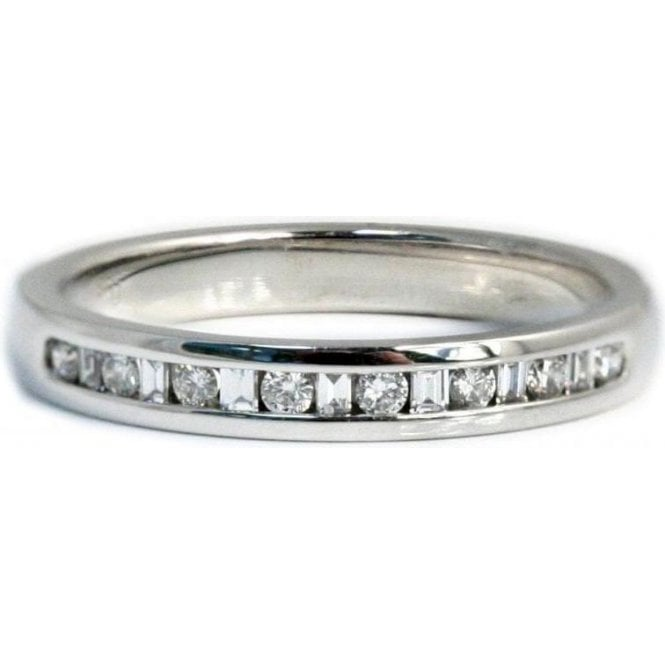 18ct White Gold Diamond 1/2 Eternity Set Ring 2.5mm