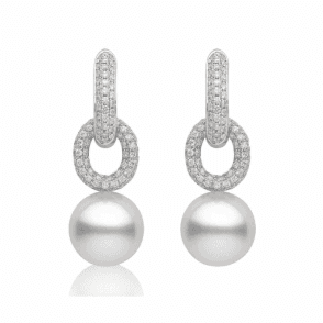 18ct White gold & diamond earrings with 13mm cultured south sea pearls