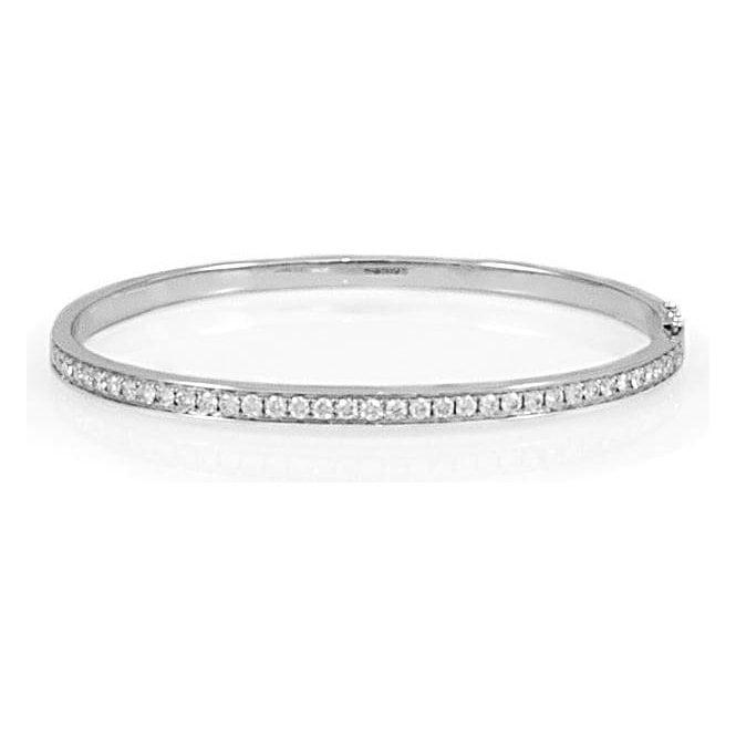 18ct White Gold Diamond Hinged Bangle