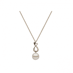 18ct white gold & diamond pendant with 9mm round cultured freshwater pearls