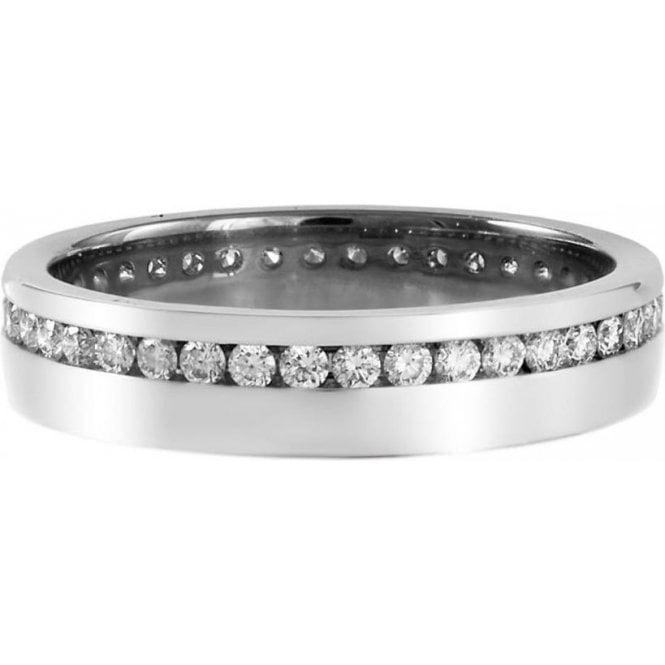 18ct White Gold Diamond Set Wedding Ring 4mm
