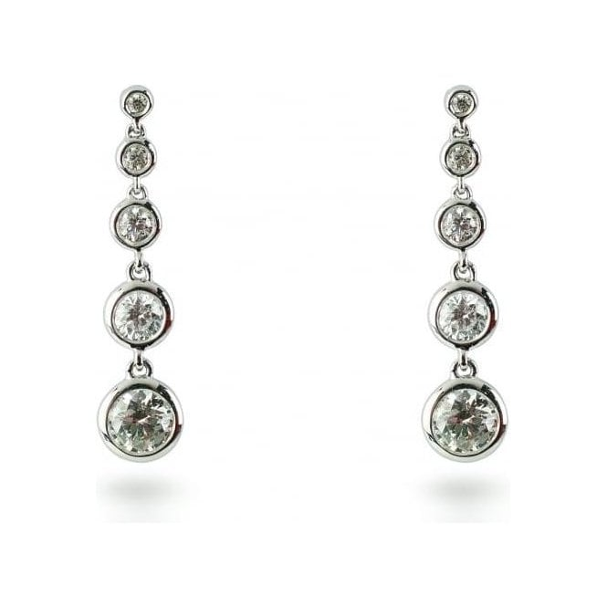 18ct White Gold Graduated Diamond Drop Earrings