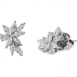 18ct White Gold Marquise Shaped Diamond Earrings
