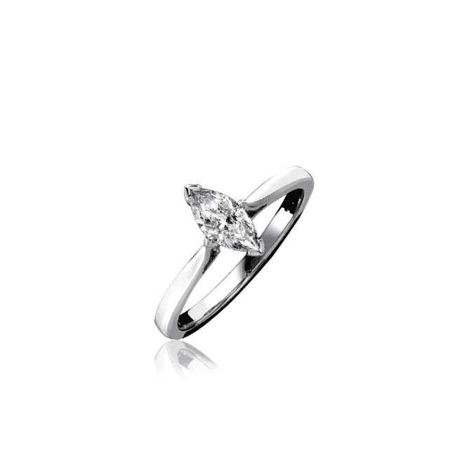 18ct White Gold Marquise Shaped Single Stone Diamond Ring