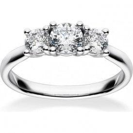 18ct White Gold Mastercut 3 Stone Claw Set Diamond Ring