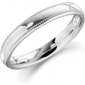 18ct White Gold Milledge Court Ladies Wedding Ring 3mm