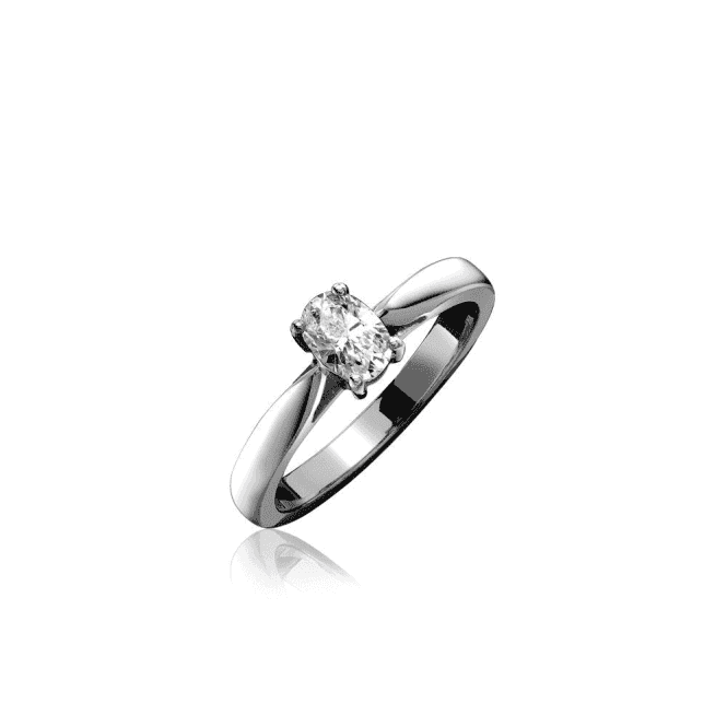 18ct White Gold Oval Shaped Single Stone Diamond Ring
