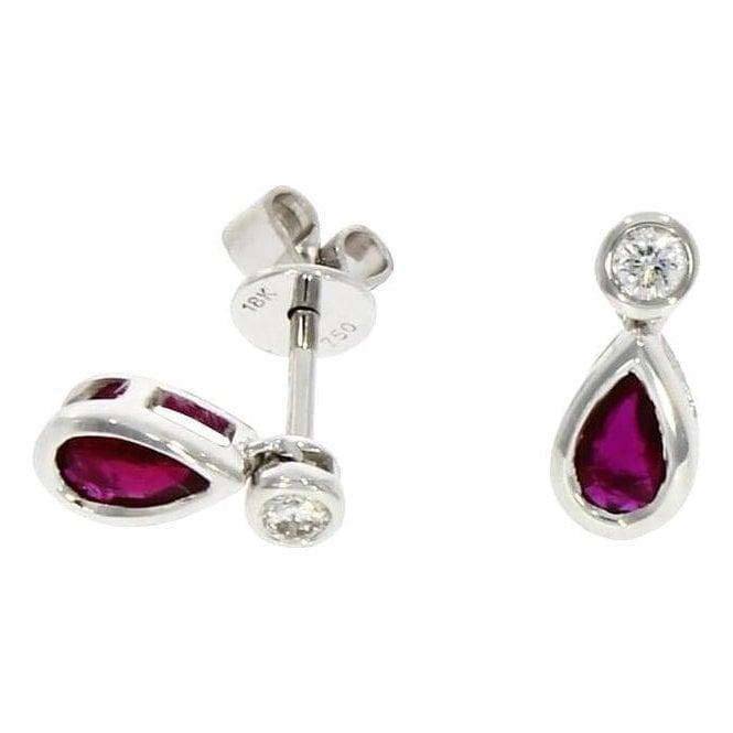 18ct White Gold Pear Shaped Ruby and Diamond Drop Earrings