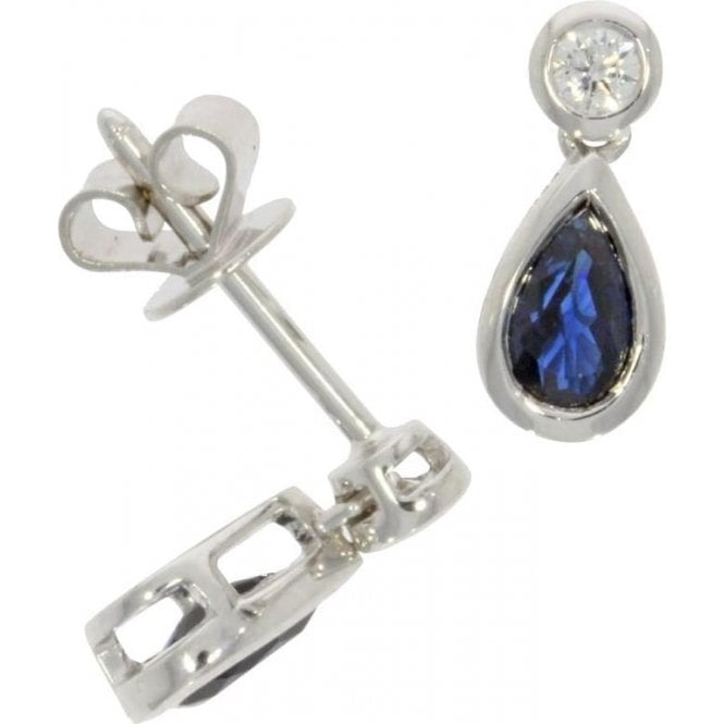 18ct White Gold Pear Shaped Sapphire and Diamond Earrings