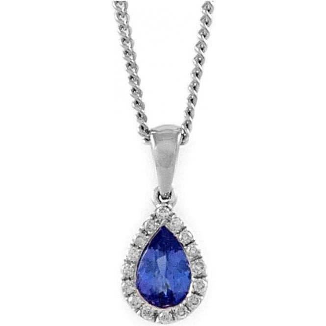 18ct White Gold Pear Shaped Tanzanite & Diamond Pendant