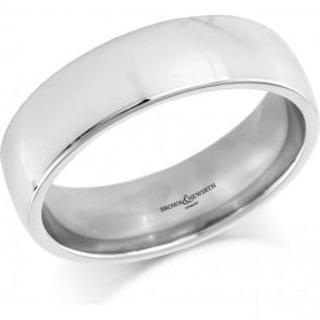 18ct White Gold Plain Court Wedding Ring 6mm