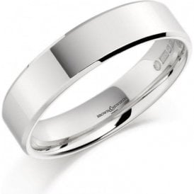 18ct White Gold Plain Flat Band Wedding Ring 4mm