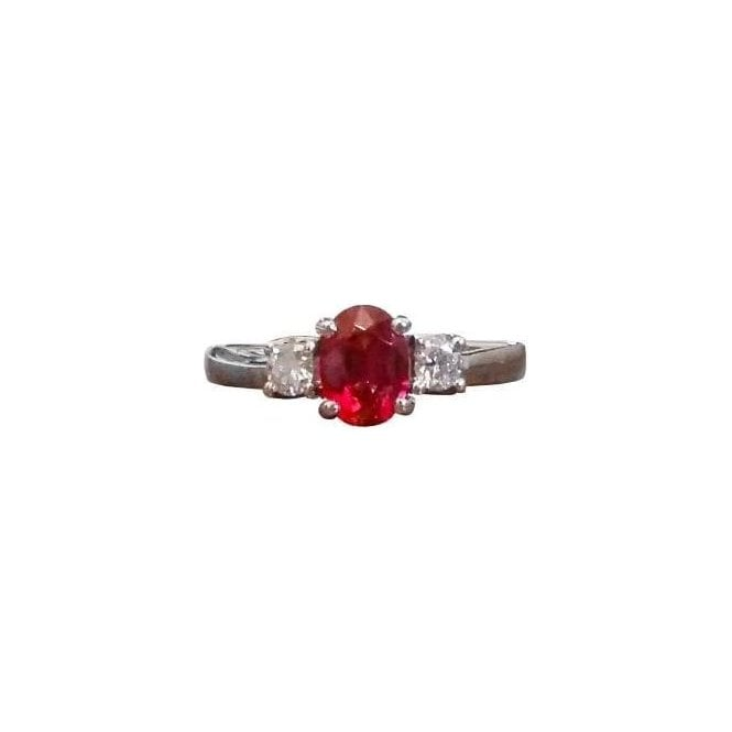 18ct White Gold Red Spinel and Diamond Ring