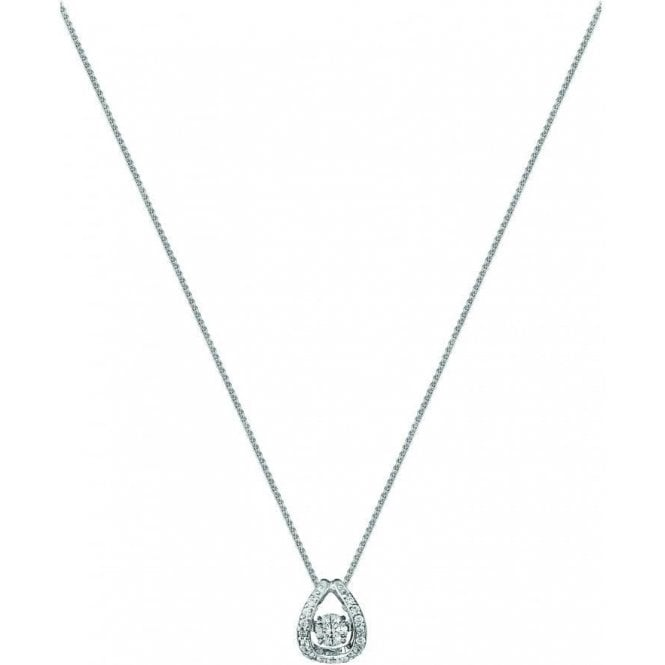 18ct White Gold Rhythm of Love Diamond Pendant on Chain