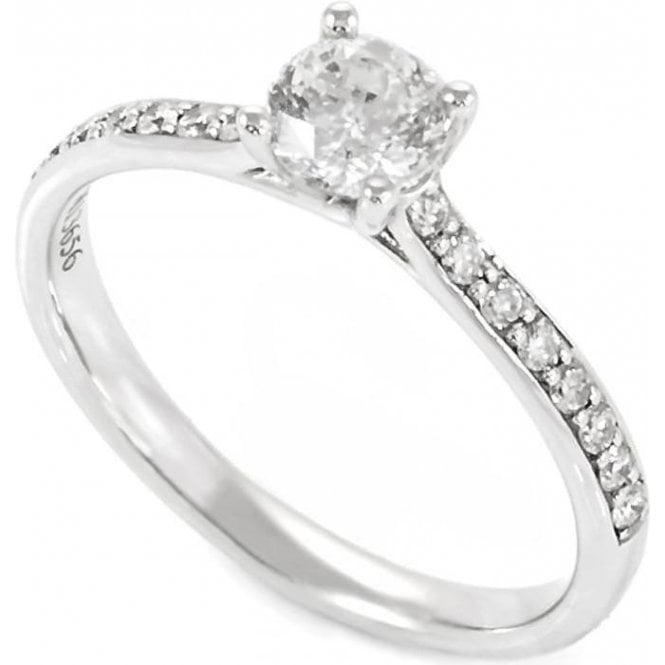 Mastercut 18ct White Gold Single Stone Diamond Ring with Paved Shoulders