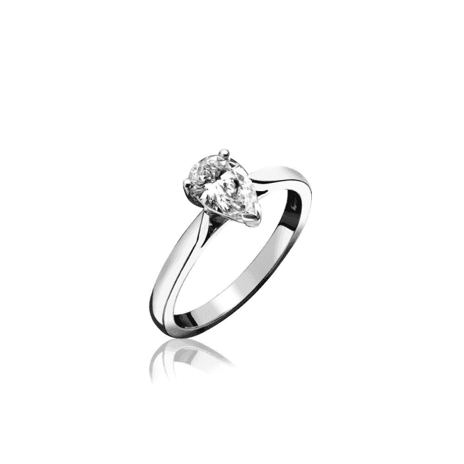 18ct White Gold Single Stone Drop Cut Diamond Ring