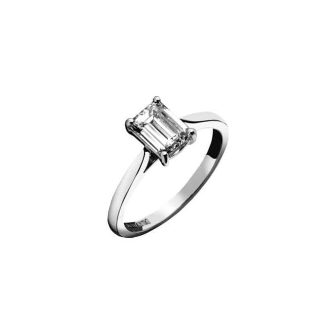 18ct White Gold Single Stone Emerald Cut Diamond Ring