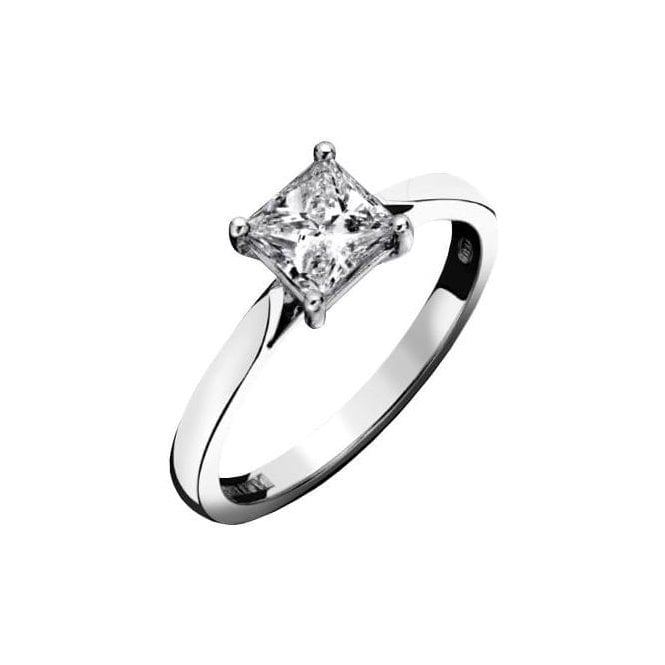 18ct White Gold Single Stone Princess Cut Diamond Ring