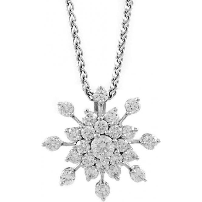 18ct white gold snowflake pendant