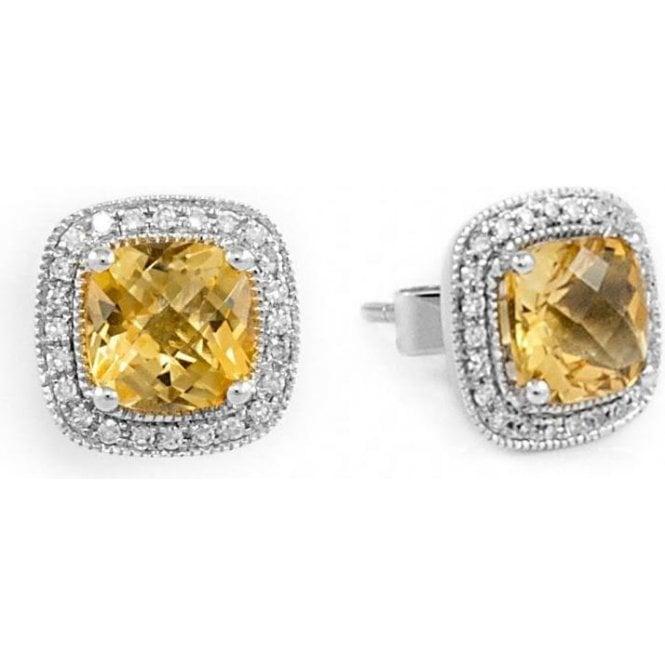 18ct White Gold Square Citrine & Diamond Cluster Earrings