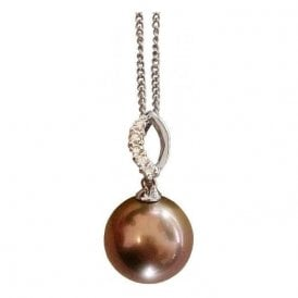 18ct White Gold Tahitian Pearl and diamond Pendant with chain