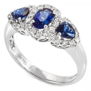 18ct White Gold Three Stone Sapphire and Diamond Cluster Ring