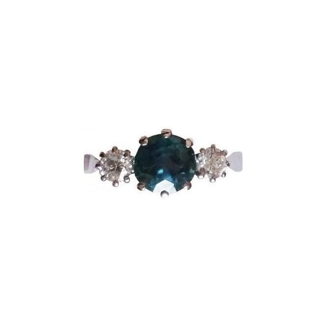18ct White Gold Zirconia and Diamond Ring