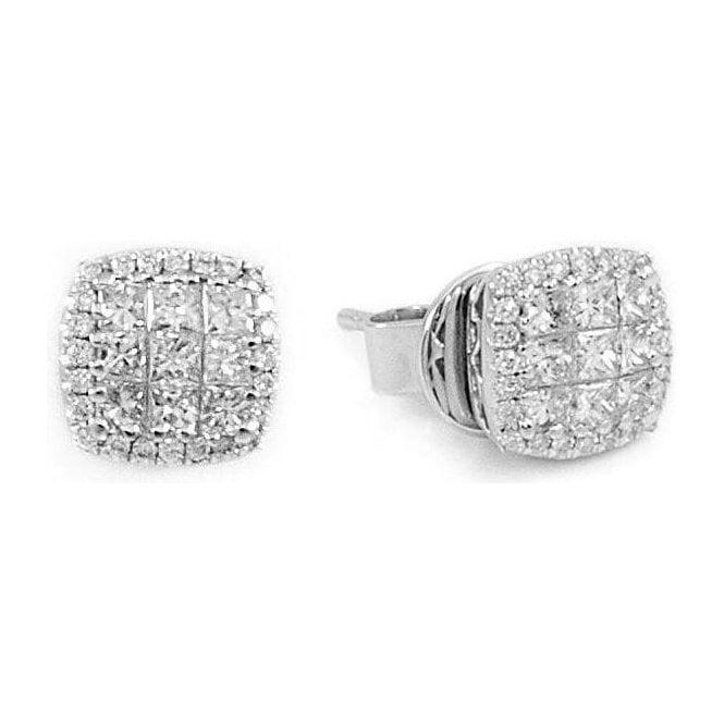 18ct White Goold Square Diamond Cluster Stud Earrings