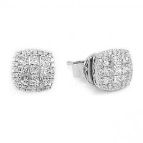 18ct White Goold Square Diamond Cluster Stud Earrings