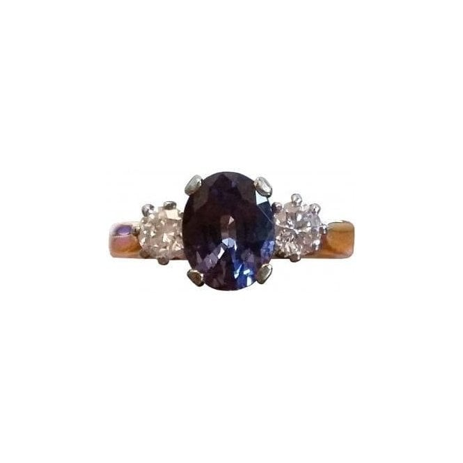 18ct Yellow and White Gold Blue Spinel and Diamond Ring