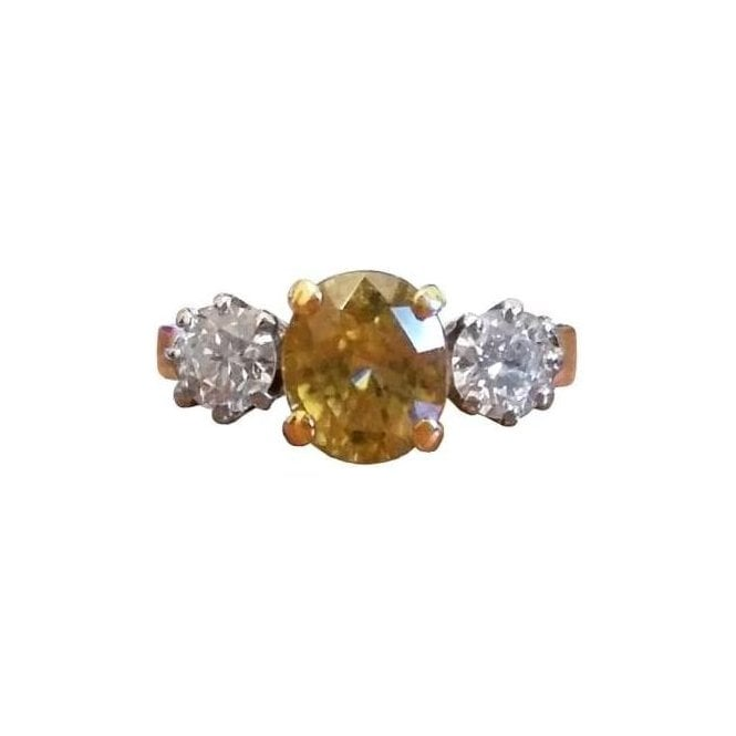 18ct Yellow and White Gold Zirconia and Diamond Ring