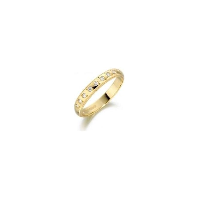18ct Yellow Gold and 9 Stone Diamond Wedding Ring 2mm