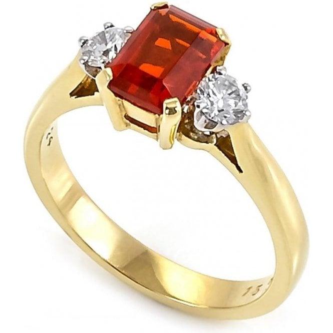 18ct Yellow Gold Fire Opal & 2 Stone Diamond Ring