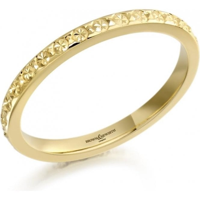 18ct Yellow Gold Ladies Diamond Cut Design Wedding Ring 2mm
