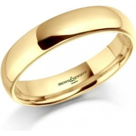 18ct Yellow Gold Plain Court Wedding Ring 4mm